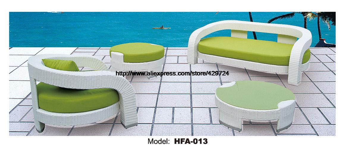 Outdoor Patio Sofa Garden Ratten Furniture Sofa Elegant Green Table Ottoman  Rattan Sofa Set Garden Outdoor