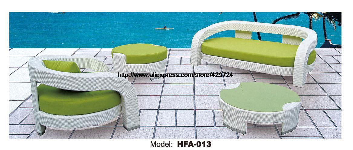 Outdoor Patio Sofa Garden Ratten Furniture Sofa Elegant Green Table Ottoman  Rattan Sofa Set Garden Outdoor
