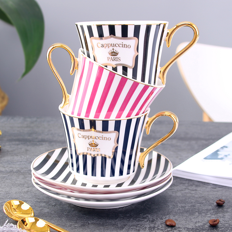 Concise Stripe Bone China <font><b>Coffee</b></font> <font><b>Cup</b></font> Saucer With Gold Spoon Elegant Ceramic Paris Tea <font><b>Cup</b></font> 225ml Porcelain Teacup Cafe Drinkware image