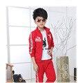 Маленький мальчик спортивная одежда 2016 весной и осенью детский спортивный костюм/три/4-7 лет люблю спорт мальчика одежда здоровье