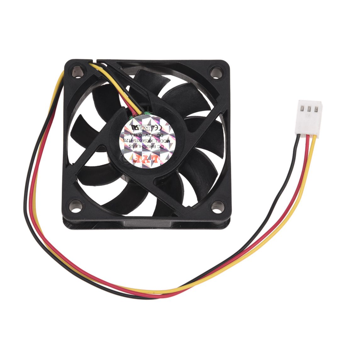 DC 12V 0.2A Black Plastic 3 Pin Connector PC Computer Case Cooling Fan 60x60mm