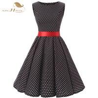 Cotton Vestidos 50s 60s Vintage Rockabilly Pin Up Swing Summer Style Party Dress Sleeveless Polka Dots
