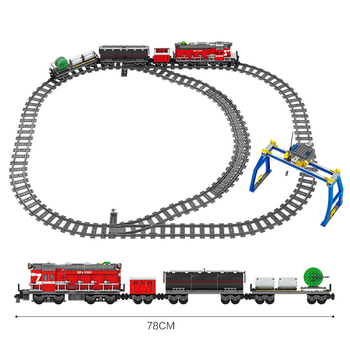 Fit City Technic Series Power-Driven Diesel Rail Train Cargo With Track Set KY98219/ KY98220 Model building blocks toys for kid