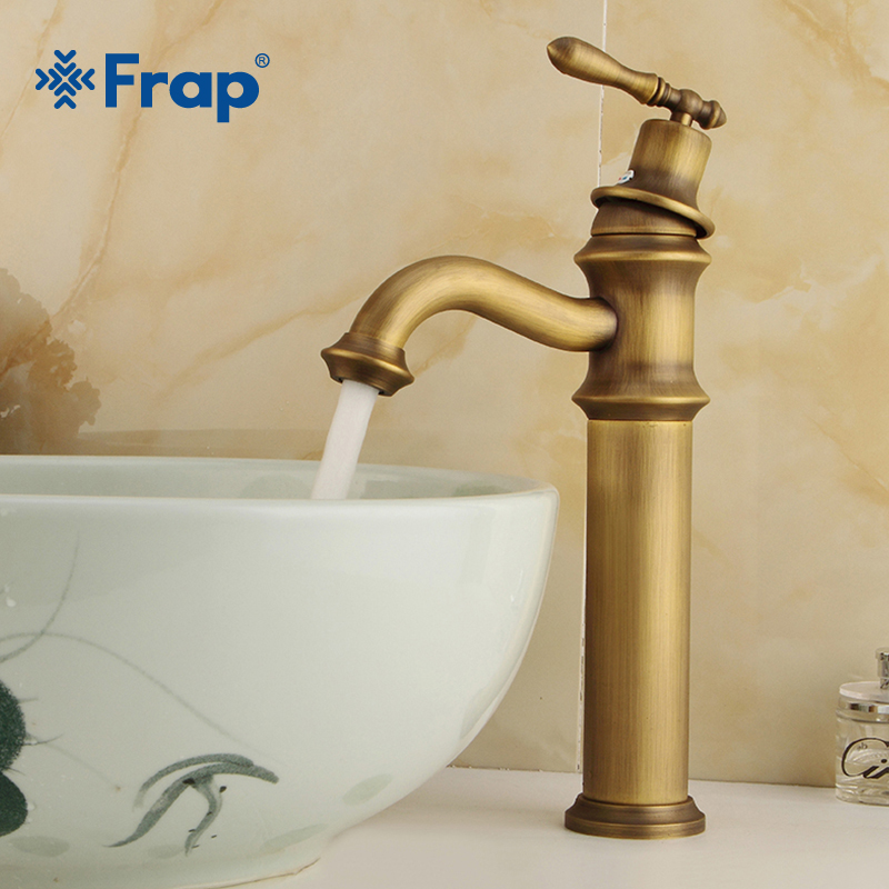 FRAP European style Brushed Basin Faucet Faucet Single Handle Dual Control Plus high platform Basin Hot and Cold Copper Y10068-in Basin Faucets from Home Improvement    1