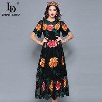LD LINDA DELLA Autumn Elegant Flower Mesh Embroidered Dress Women's Luxury Multicolor Lace Party Vintage Dress vestido