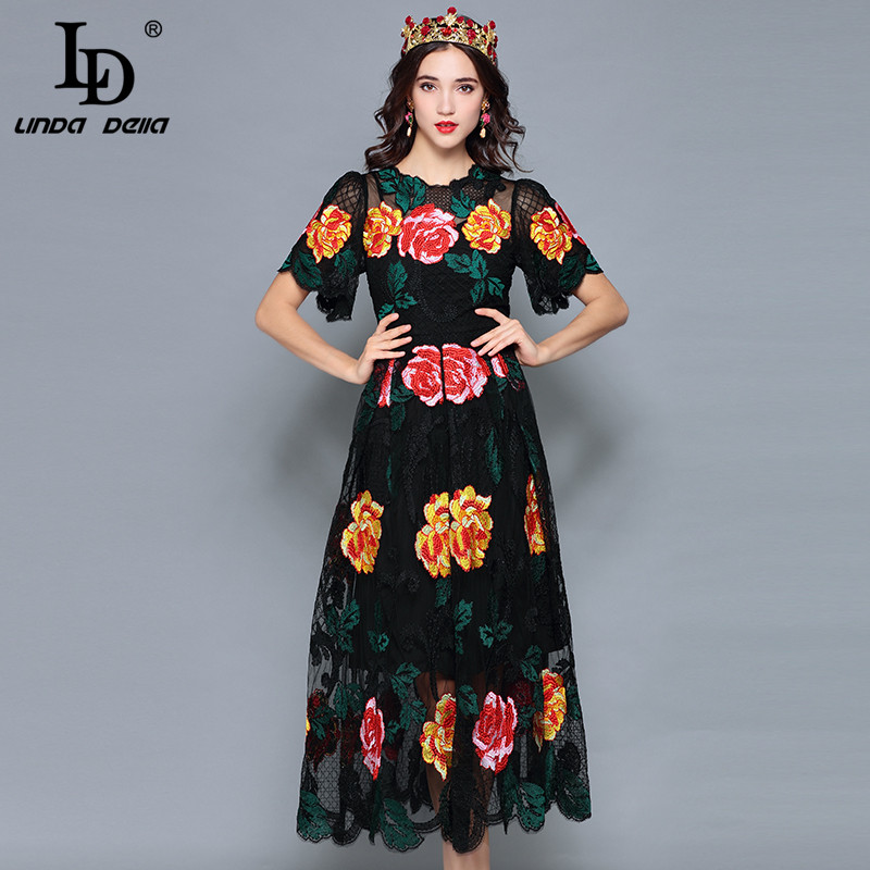 LD LINDA DELLA 2018 Autumn Elegant Flower Mesh Embroidered Dress Women's Luxury Multicolor Lace Party Vintage Dress vestido
