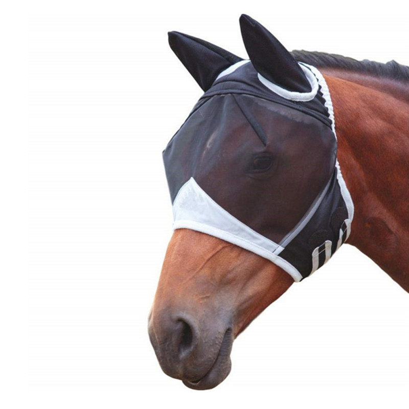 Horse Detachable Mesh Mask With Nasal Cover Horse Fly Mask Horse Full Face Mask Anti-mosquito Nose With Zipper(China)