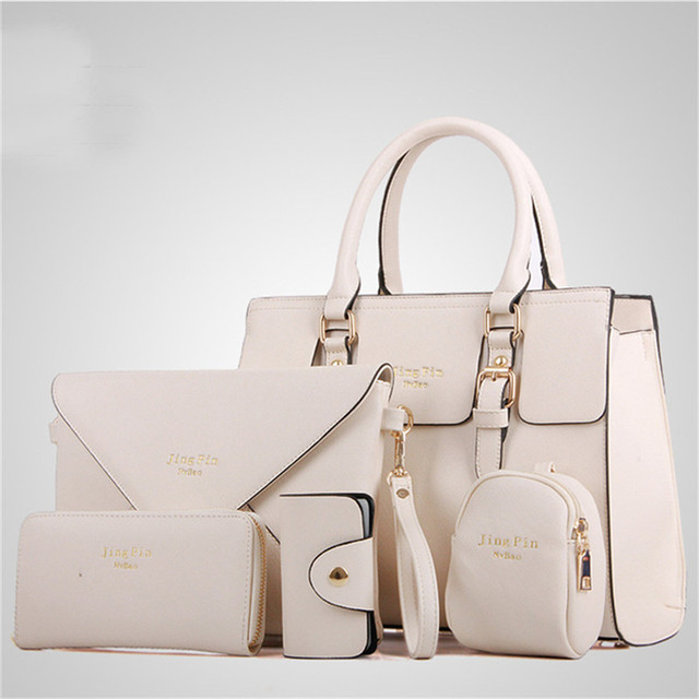 f8356ade19ea Fashion Women 5 Piece set Handbag Purse Set Classic Messenger Bag Imitation  Leather Shoulder Bag