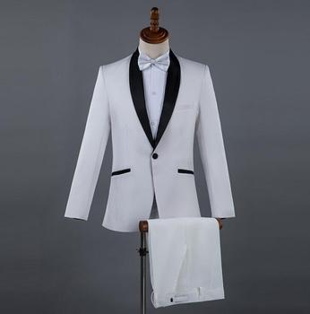 Blazer men groom suit set with pants mens wedding suits costume singer star style dance stage clothing formal dress white