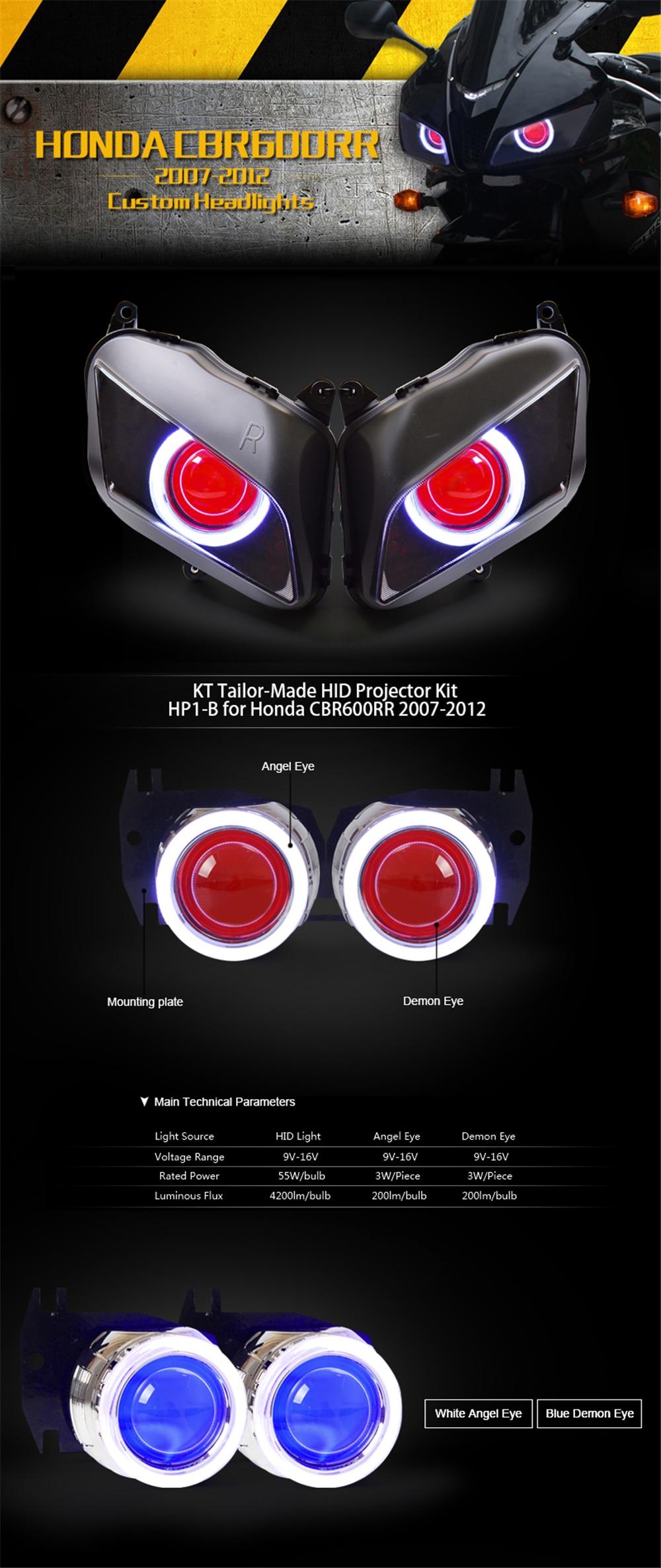 Kt Tailor Made Hid Projector Kit For Honda Cbr600rr 2007 2012 Hp1 B Custom Wiring Harness