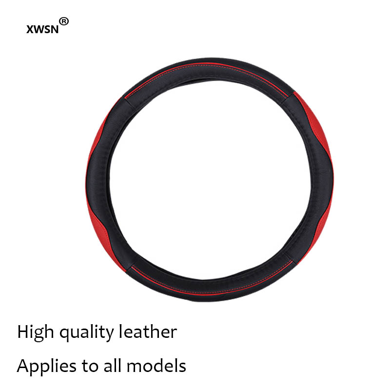 XWSN high-quality leather steering wheel cover is suitable for Infiniti Acura DS Lincoln Tesla Jac JEEP 38cm Car styling