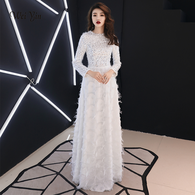 Detail Feedback Questions about weiyin White Sequins Evening Dress Long  Sleeves Bodycon Elegant Women Formal Dress 2019 Saudi Arabia Dubai Prom  Dresses ... 16fc668535aa