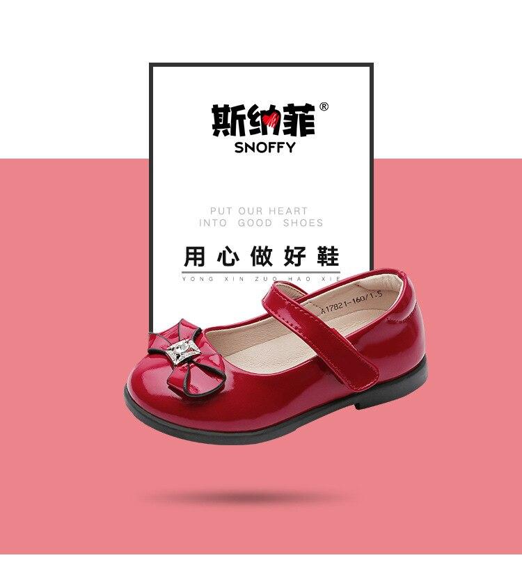 Arco Meninas Sapatos de Couro Fechar Toe