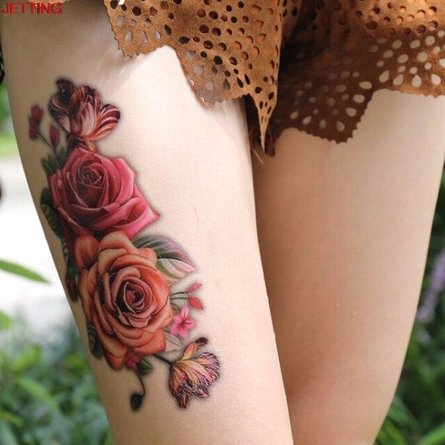 Us 064 Piękna Indyjska Arabski Uda Fałszywy Tymczasowe Tatuaż Naklejki 3d Rose Flower Ramię Ramię Tatuaż Wodoodporna Kobiet 919 Cm W Piękna