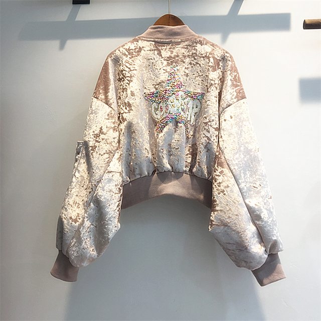 247a9ee254018 pink white coffee blue velvet metallic bomber jacket coat women winter  autumn 5 stars sequined loose bomber coat jacket 2018