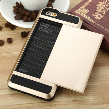 Luxury Slide Wallet Credit Card Slot Pocket Wallet Pouch Phone Case Back Cover For iPhone 5 5s 6 6s 4.7