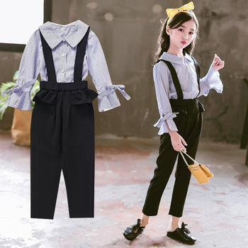 2 Pcs Clothing Set For Girls Autumn Girls Suit Spring Kids Clothes Teen Girl Costume 6 8 12 Years Child Striped Blouse+Jumpsuit