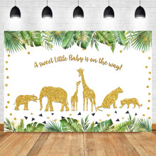 NeoBack Jungle Safari Baby Shower Backdrop Baby Animals Birthday Photography Background Golden Animals Party Banner Backdrops baby sparkle animals