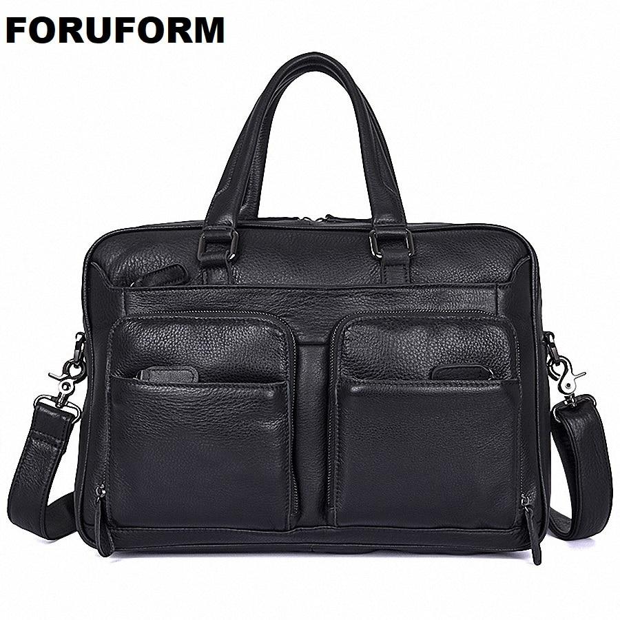 Autumn New Design Genuine Leather Men's Briefcase Satchel Bags For Men Business Fashion Messenger Bag 14 Inch Laptop Bag LI 1974