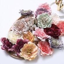 5PCS 10cm Peony Flower Heads Decorative Scrapbooking Artificial Flower For Home Wedding Decoration DIY Garland Craft Flower