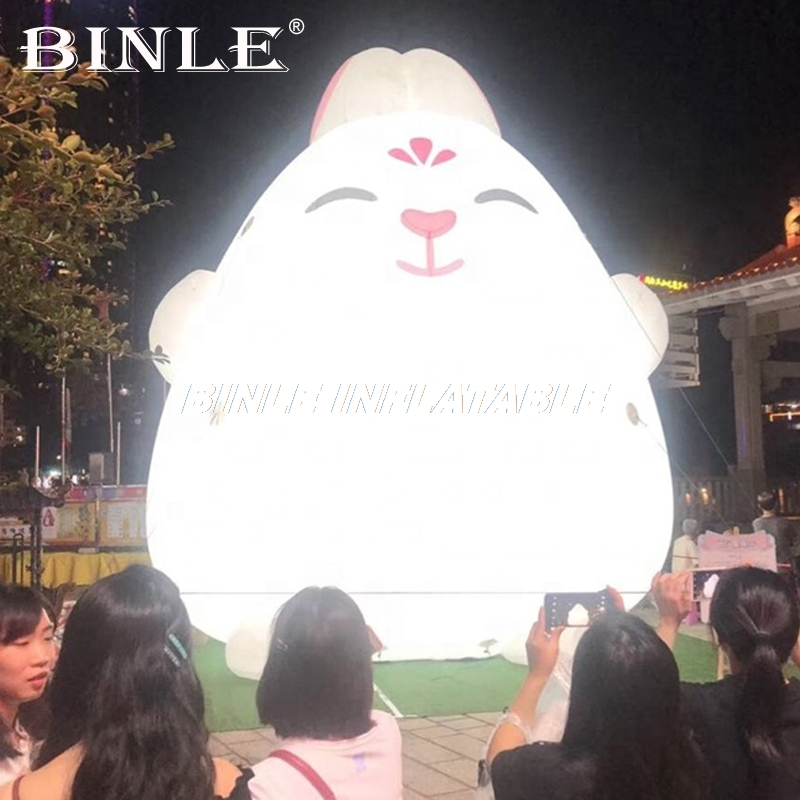 Large inflatable rabbit balloon inflatable bunny cartoon with led lights for stage event propsLarge inflatable rabbit balloon inflatable bunny cartoon with led lights for stage event props