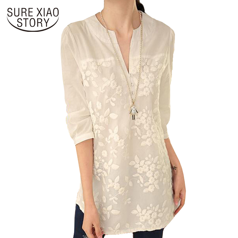 New V-neck Organza Embroidered Shirt White Lace Blouse Top Plus Size Summer Korean Women Blouse Flower Women Blouse  566F 25