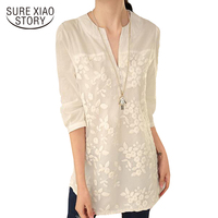 2016 New Summer Korean Women Blouse Flower Print Blouse V Neck Organza Embroidered Shirt White Lace