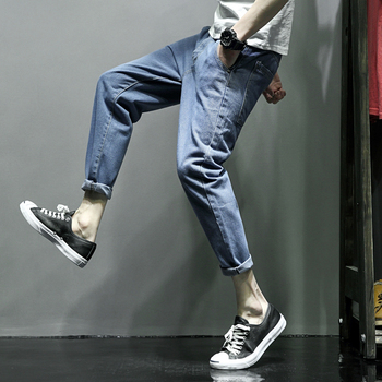 Xingang wind system decoration loosely decorated with fertilizer increase code cowboy men nine pants control 68] P50