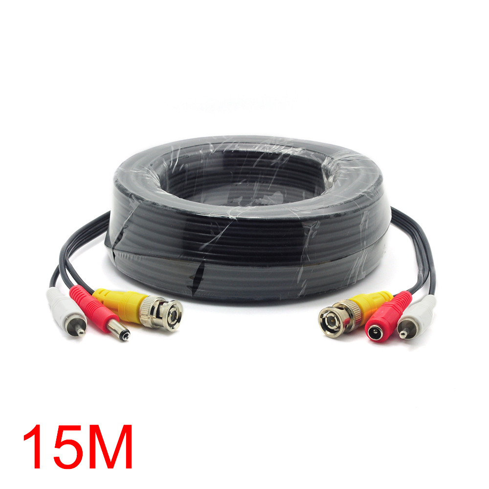 15M/49FT BNC RCA DC Connector Video Audio Power Wire Cable For CCTV Camera