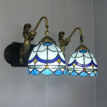 地中海ブルーミニマリストミラーフロントランプ頭人魚壁ティファニーガラス照明バルコニー洗面バルコニー