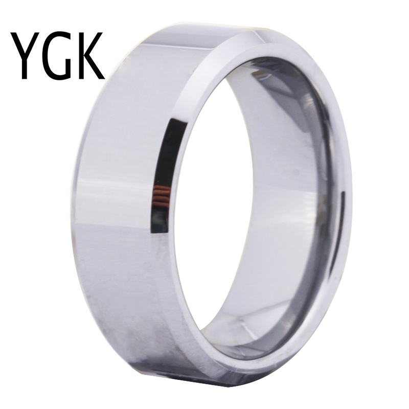 Free Shipping Hot Sales 8MM Width Shiny Bevel Custom Ring Blank Ring New Men's Fashion Tungsten Wedding Ring