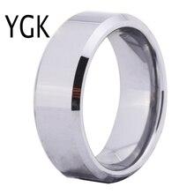 Бесплатная доставка Лидер продаж 8 мм Ширина блестящие конических пользовательские кольцо пустой Кольцо Новый Мужская Мода Вольфрам обручальное кольцо