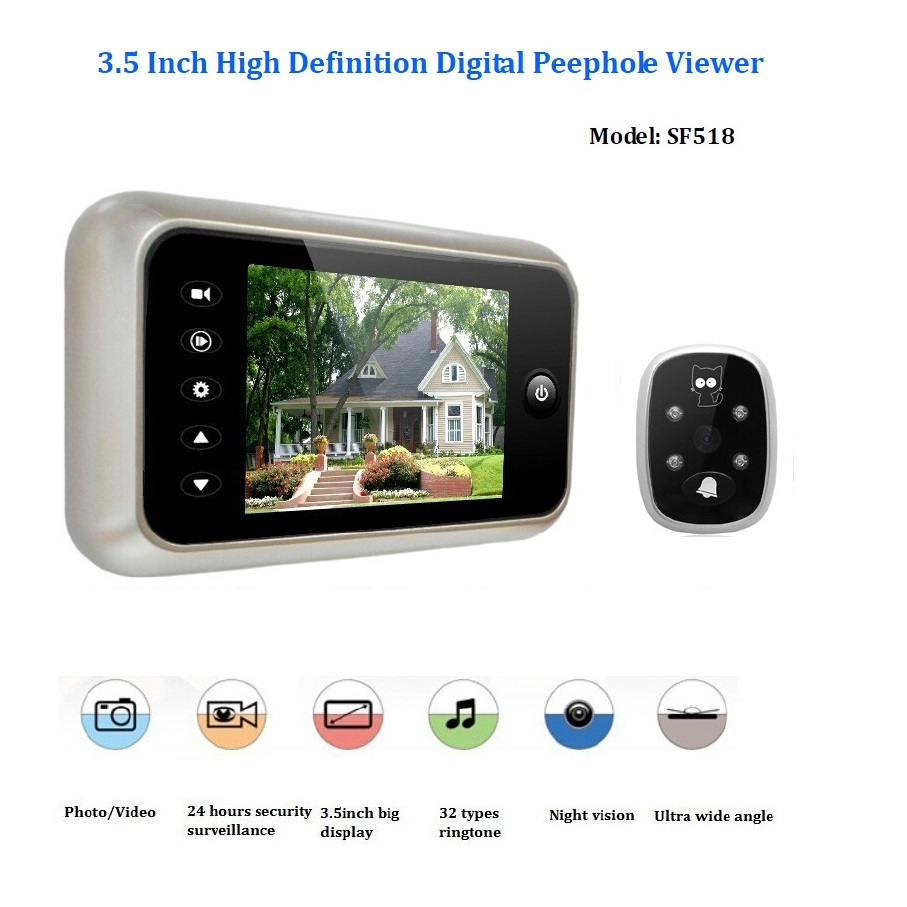ФОТО 3.5inch video peephole door camera wireless 32Rings IR Night vision 3X Zoom Photos taking+Video recording video peephole Max 32G