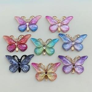 Image 4 - 色の蝶天然石凸シリーズフラットバックレジンカボションジュエリーアクセサリー 10 個 23*38 ミリメートルb27A