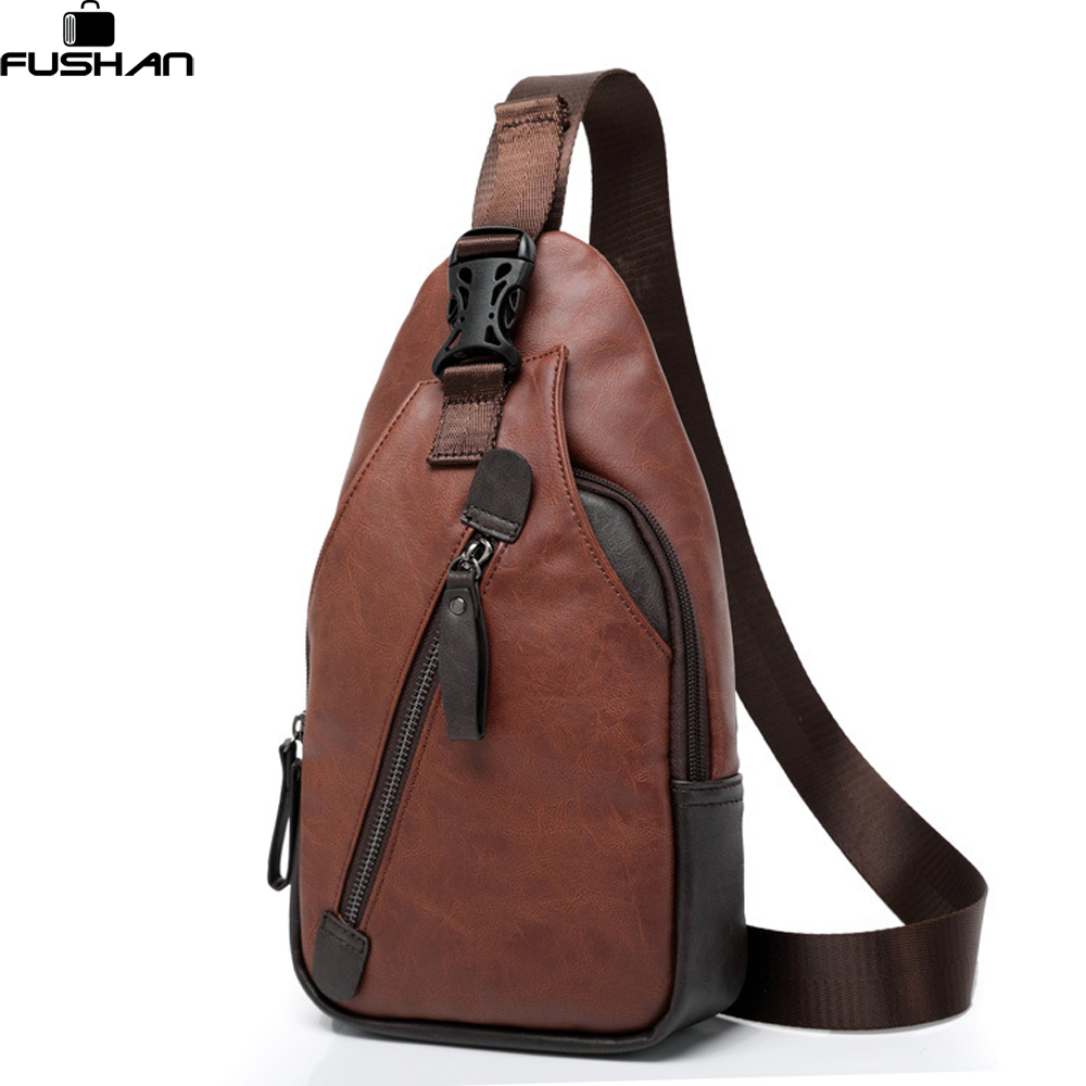 Fashion Leather Men Messenger Bags Cross Body Shoulder Chest Bags Packs Water Shape Favorite Crossbody Brand Black New 2017