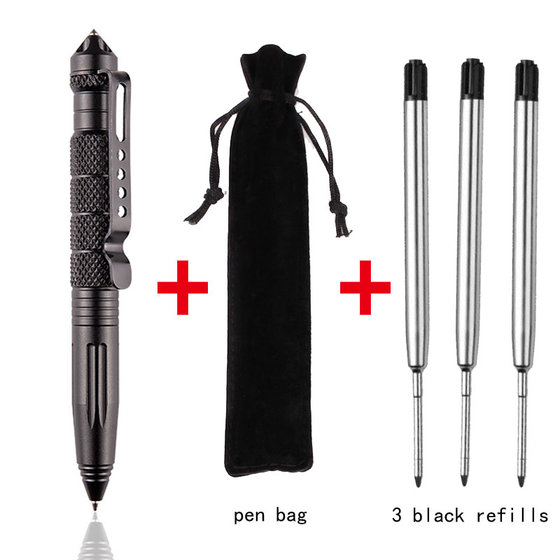 High Quality Defensive Tactical Pen Self-defense Pen Multi-function Aviation Aluminum Alloy Non-slip Portable Camping Ball Pen