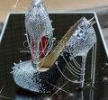 Mulheres livres do Transporte Bombas Strass e Studded Pico Salto Alto Stiletto Com Spikes Rebites Salto Sapatos Shoes para As Mulheres