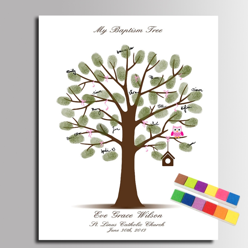Guest Book Fingerprint Tree Painting Baby Owl Canvas Painting Baby Shower  Fingerprint Painting Baby Gift(