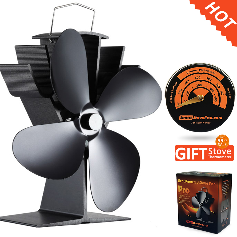 Free Gift Stove Thermometer + Best Seller Eco Wood Stove Fan Heat Powered Stove Fan free shipping cheap heat powered stove fan in black gold silver coppery blade