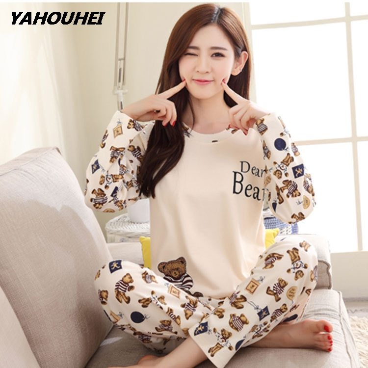 New Listing 2019 Spring Pyjamas Women Carton Cute Pijama Pattern   Pajamas     Set   Thin Pijamas Mujer Sleepwear Wholesale