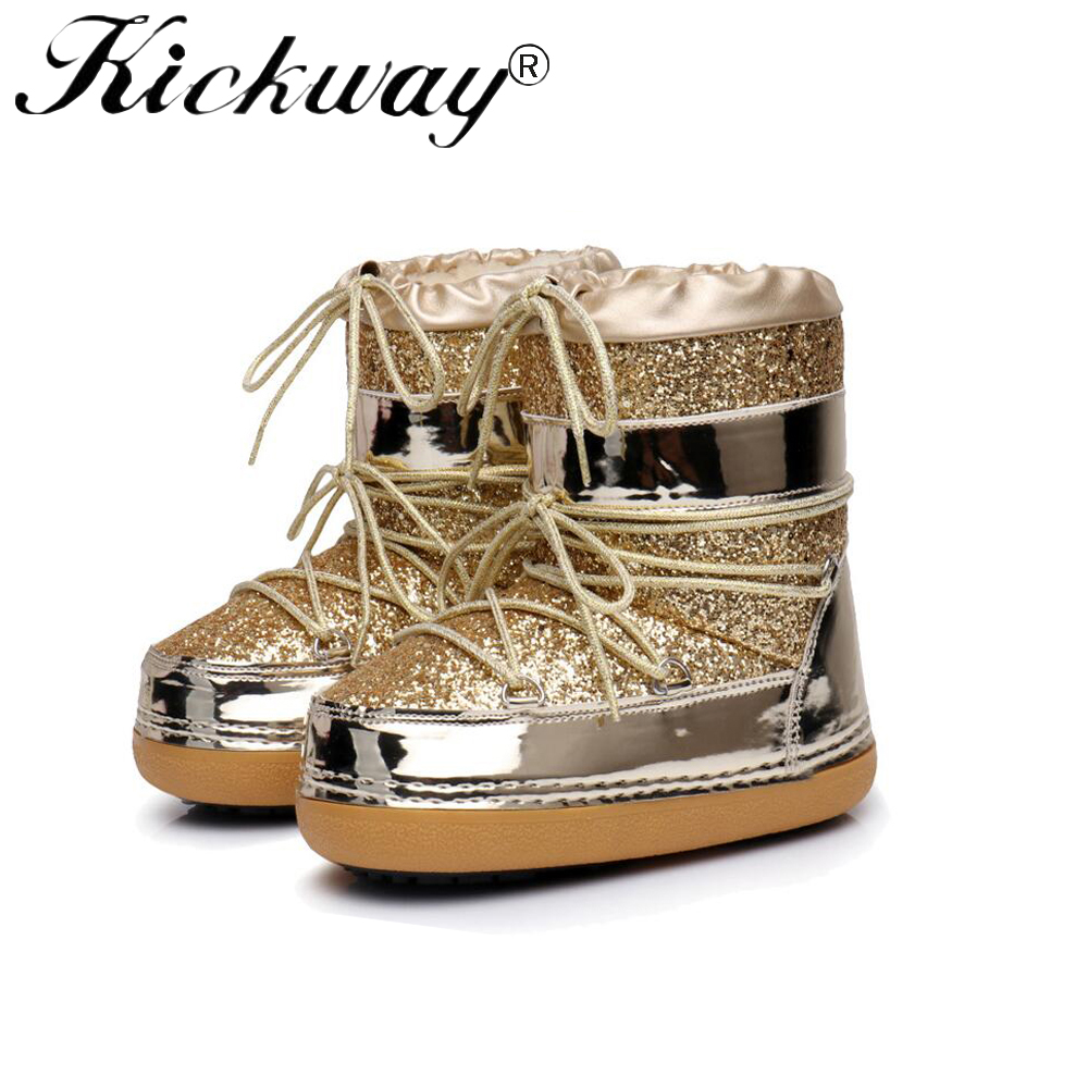 0ef90e5bfa US $37.65 40% OFF|Kickway 2017 New Fashion Womens Flats Boots Snow Boots  Thick Bottom Shiny Glitter Female Winter Boot Shoes warm shoes For  ladies-in ...