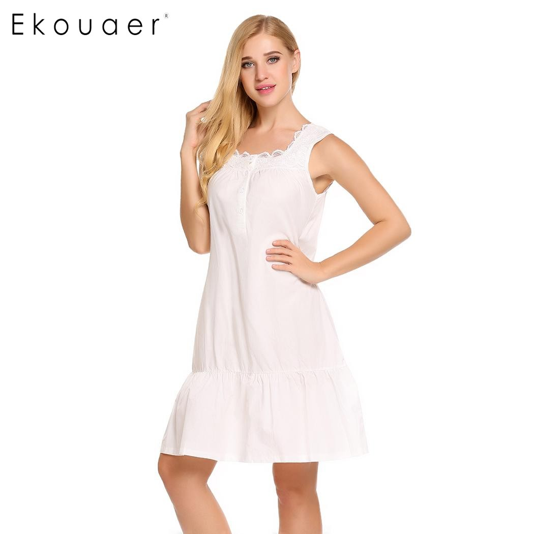 efeec6e07a Ekouaer Elegant Victorian Style Nightgown Womens Sleeveless Cotton Loose  Sleepwear Lace Patchwork Nightwear Home Clothing-in Nightgowns   Sleepshirts  from ...