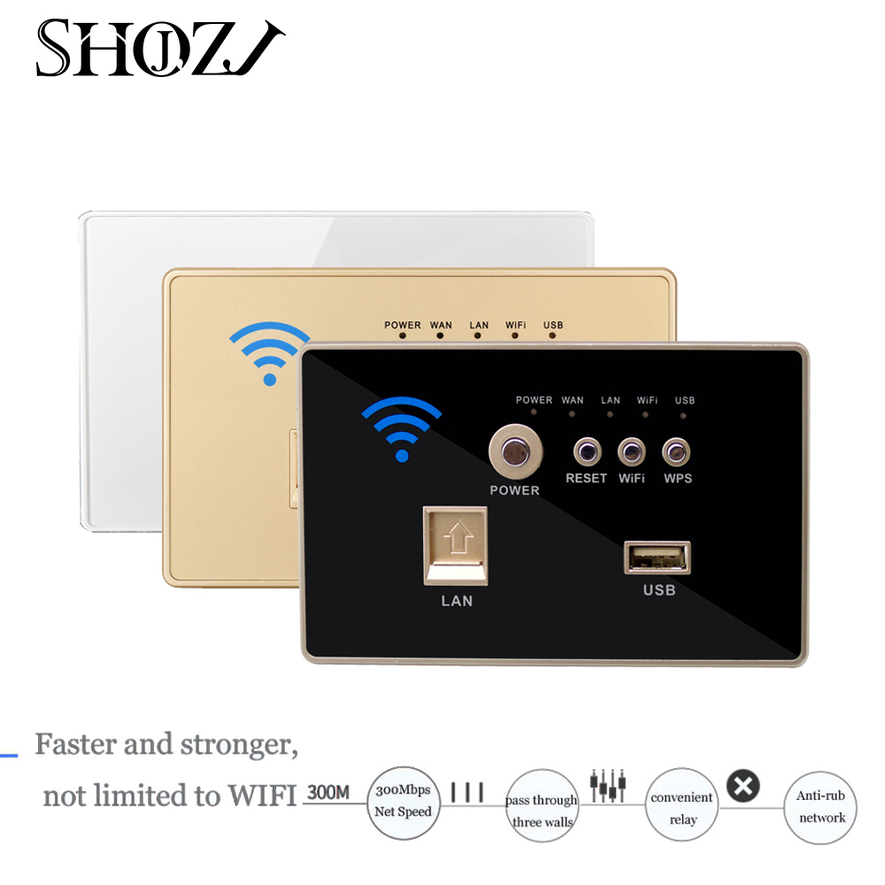 smart house 300Mbps Dual Wall WiFi Repeater <font><b>antenna</b></font> of embedded wireless AP wireless router <font><b>USB</b></font> WIFI Panel Charging Socket with image