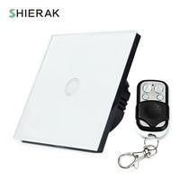 SHIERAK Wireless Switch Remote Control Touch Switch 1 Gang White Black Gold EU Standard Crystal Glass