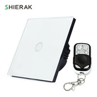 SHIERAK Wireless Switch Remote Control Touch Switch 1 Gang White Black Gold EU Standard Crystal Glass