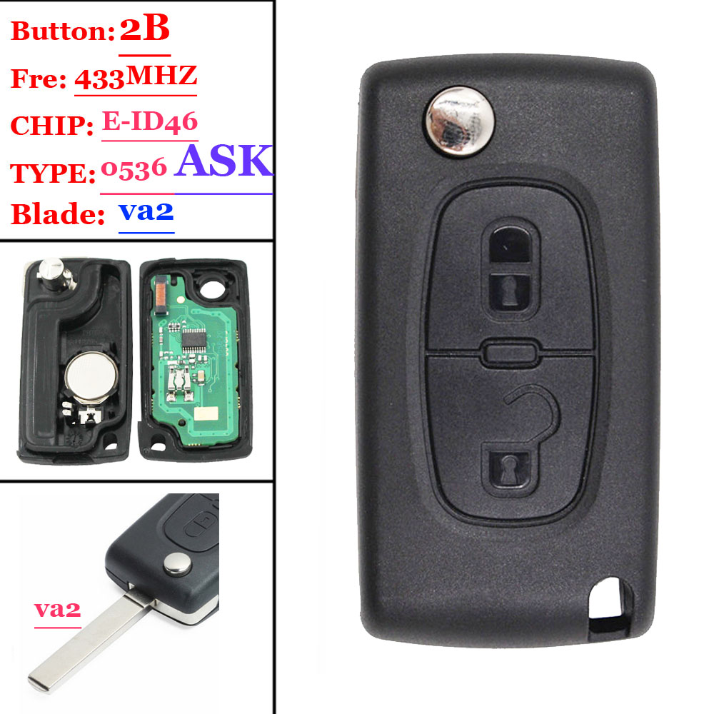 Free shipping(1piece )<font><b>0536</b></font> Type ASK 2 Button Flip Remote Key 433mhz electronic 46 chip VA2 407 blade for <font><b>Peugeot</b></font> key image