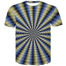 New 3D t-shirt Polyester Print Short sleeve Men Black And White Vertigo Hypnotic colorful 2019 Summer  tee shirt homme de marque