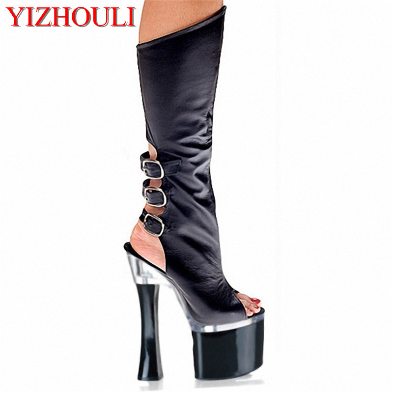 18cm New arrival Classic high heels cool boots sexy open toe high-leg summer boots 7 inch women