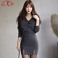 2017 Striped Sets 2 Pieces Women Cloth Work Office Blouse Mini Split Sexy Skirt Suit Dress Bodycon Casual Vestidos