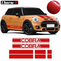 Bonnet Hood Trunk Rear Side Skirt Racing Stripes Vinyl Decal Stickers For Mini Cooper Cobra R50 R53 R56 F56 3 Door Hatchback